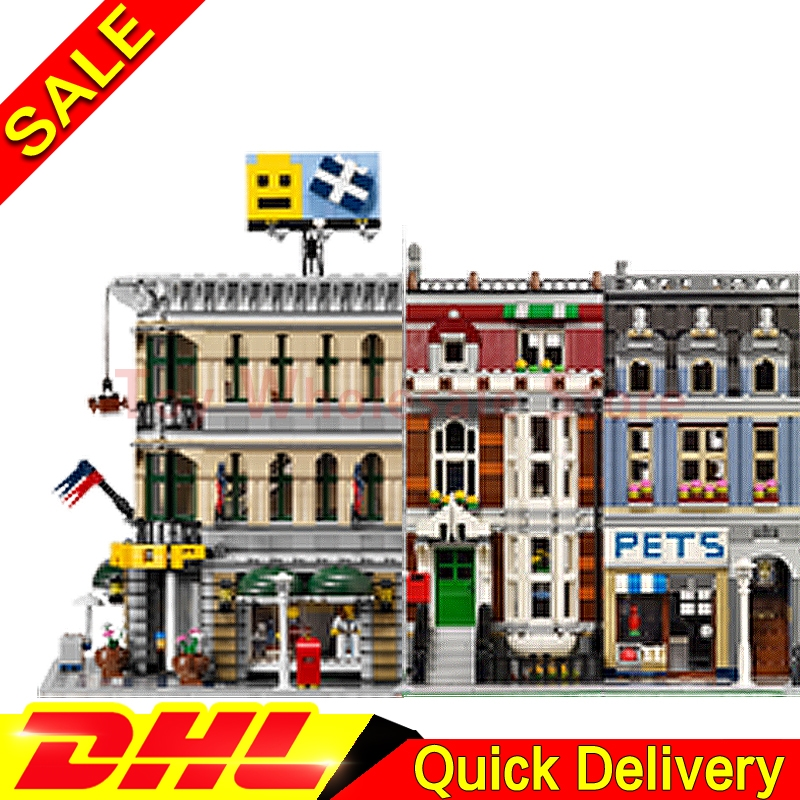 Lepin 15005 Grand Emporium + Lepin 15009 Pet Shop Supermarket Model Building Street Sight Blocks Bricks lepins Toy 10251 10218 a toy a dream lepin 15008 2462pcs city street creator green grocer model building kits blocks bricks compatible 10185