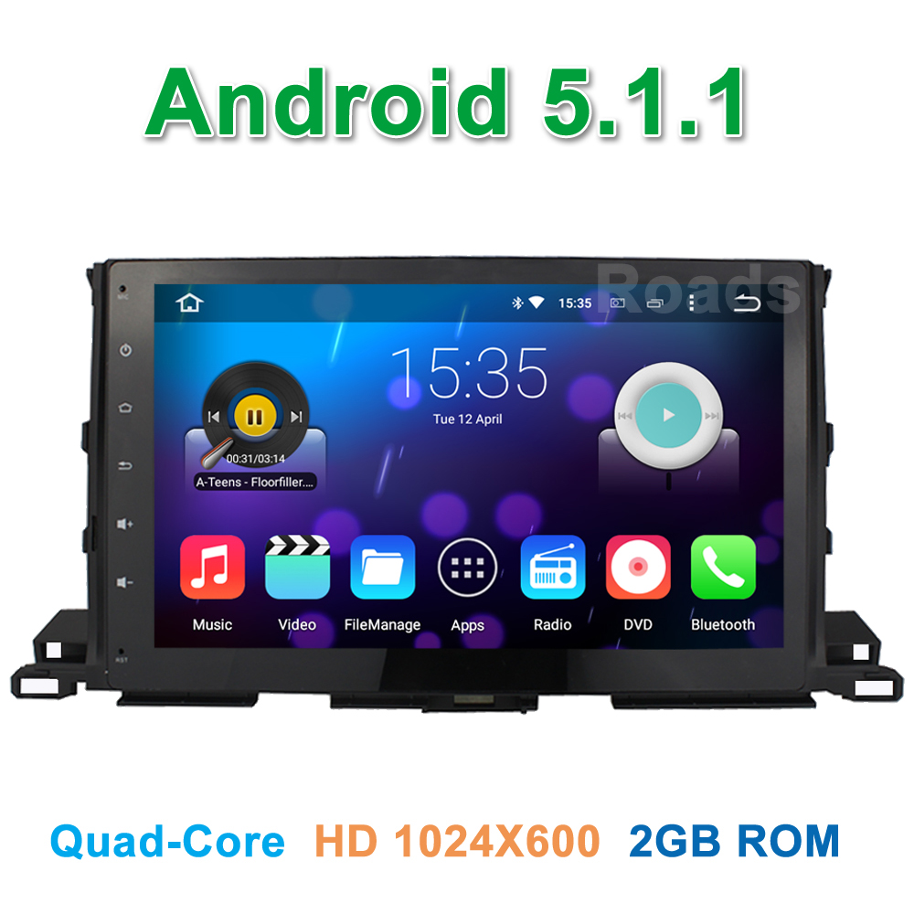 10.1″ Quad core Android 5.1.1 Car DVD Player for Toyota Highlander 2015 with Radio BT WiFi Mirror-link GPS Navigation