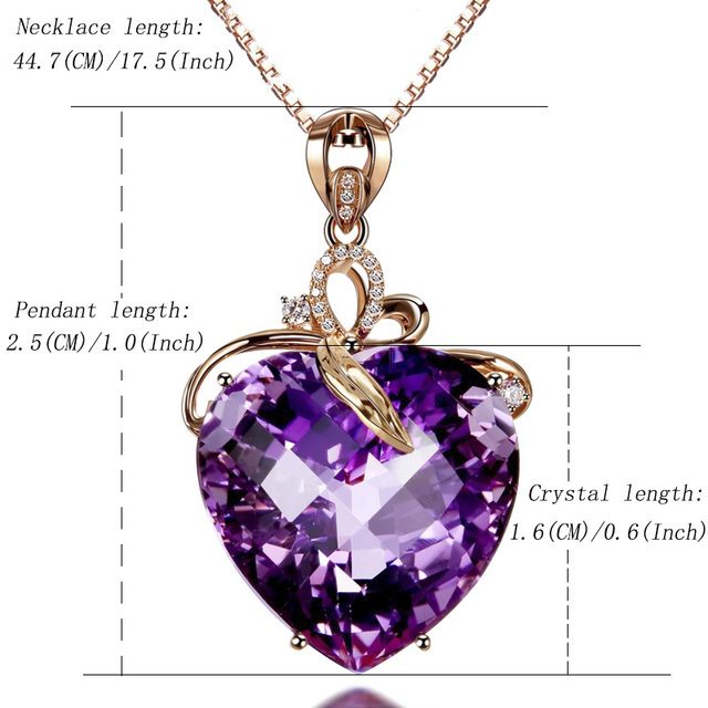 Women Necklace Pendant High Quality Heart Shape Amethyst Pendant Rose Gold Necklace Jewelry Charm Wedding Party Fine Jewelry 5
