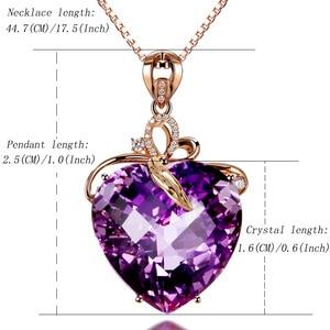 Image 5 - Collar con colgante de amatista en forma de corazón para mujer, collar de oro rosa, joyería, amuleto, joyería fina para fiesta de boda