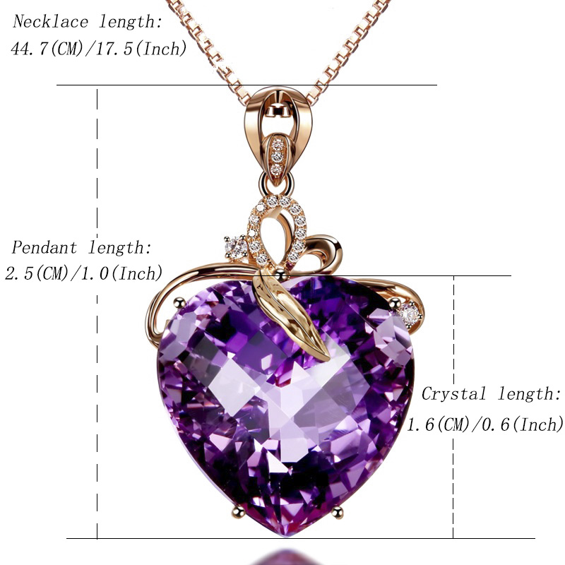 Women Necklace Pendant High Quality Heart Shape Amethyst Pendant Rose Gold Necklace Jewelry Charm Wedding Party Fine Jewelry in Pendants from Jewelry Accessories