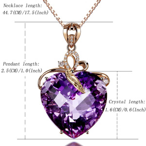 Image 5 - Women Necklace Pendant High Quality Heart Shape Amethyst Pendant Rose Gold Necklace Jewelry Charm Wedding Party Fine Jewelry