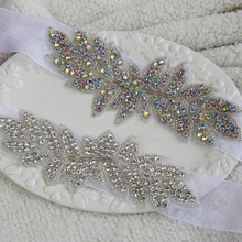 1Pcs AB Or Clear Crystals Iron On Womens Rhinestone Belts Hotfix DIY Sewing Applique ML02