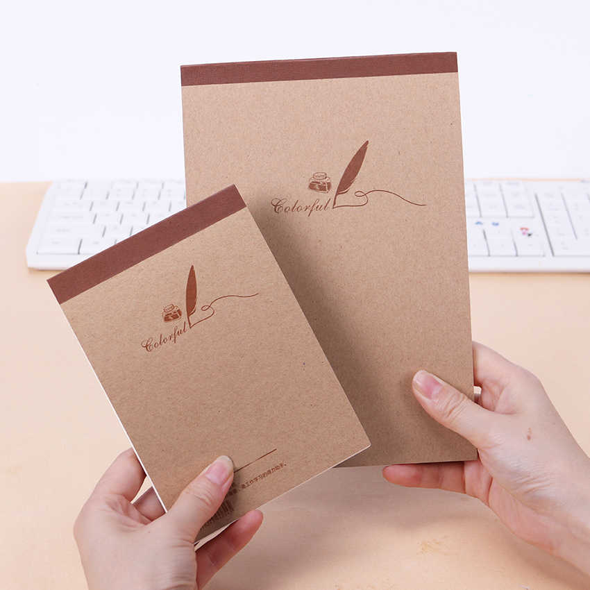 1PC New Blank Graffiti Kraft Paper Diary Notebook Sketch Computing Notepad Hand-Painted Painting Drafts Notebooks