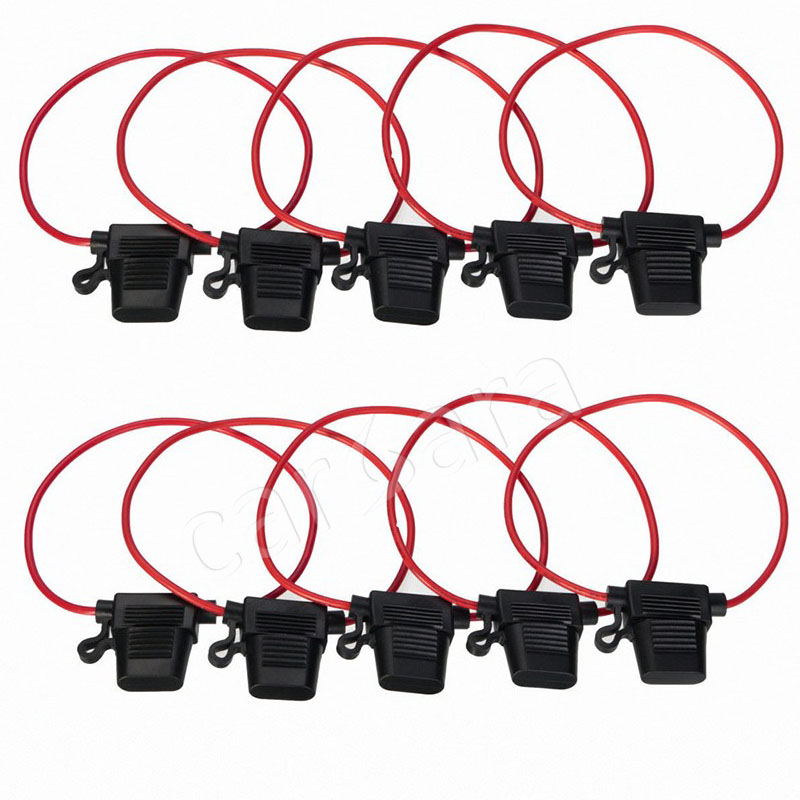 10pcs 40a Car Waterproof Amp In Line Stanard Blade Type Atc Fuse Holder Fuses Car Auto 12awg