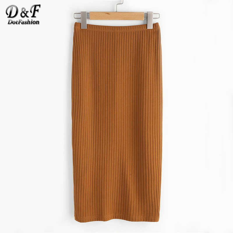 6bce573265f7 Dotfashion Vented Back Rib Knit Skirt Women Summer Slim Casual Bottom 2019  New Simple Pure Long