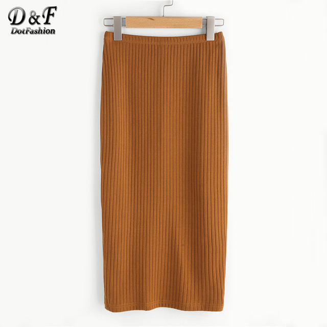 84703536dc Dotfashion Vented Back Rib Knit Skirt Women Summer Slim Casual Bottom 2019  New Simple Pure Long Pencil Skirt