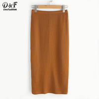 Dotfashion Vented Back Rib Knit Skirt Women Summer Slim Casual Bottom 2017 New Simple Pure Camel