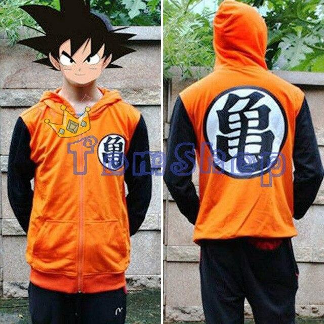 New Anime Dragonball Z Son Goku Cosplay Long Sleeve Hooded Sweatshirt Hoodie Zipper Jacket Coat Halloween Costume M-XXL