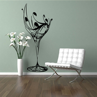 Wine Glass Kitchen Wall Sticker Home Decor For Kitchen Room Vinyl Art Decal Kitchen Wall Transfer