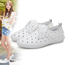 New 2019 Women Genuine Leather White Sneakers Hollow Out Breathable Flat Woman Vulcanized Shoes Tenis Feminino