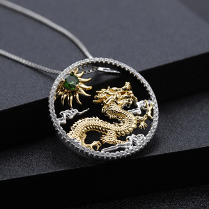 Image 3 - GEMS BALLET Natural Chrome Diopside Chinese Zodiac Jewelry 925 Sterling Silver Handmade Flying Dragon Pendant Necklace ForWomen