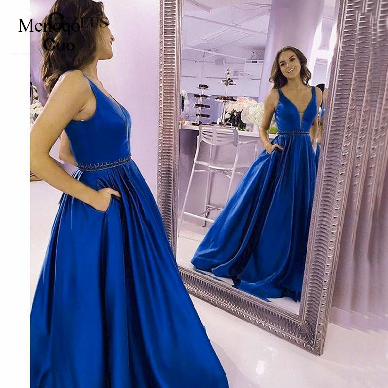 Vestidos de fiesta A-Line Satin Elegant Prom Dress Beaded Waist Long Vestido formatura 2019 Women Formal Dress Gala Dress