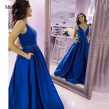 Vestidos de fiesta a linha de cetim elegante vestido de baile frisado cintura longa formatura 2019 vestido formal feminino vestido de gala