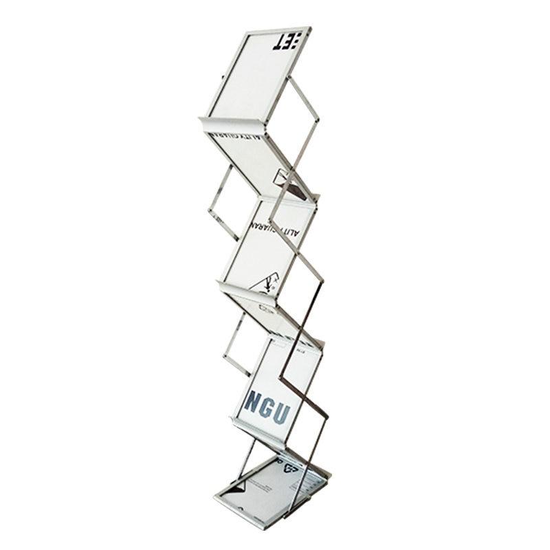 Portable Aluminium Brochure Display Rack Literature Display Stand Folding Catalogue Shelf Magazine Display Rack Stand Brochure
