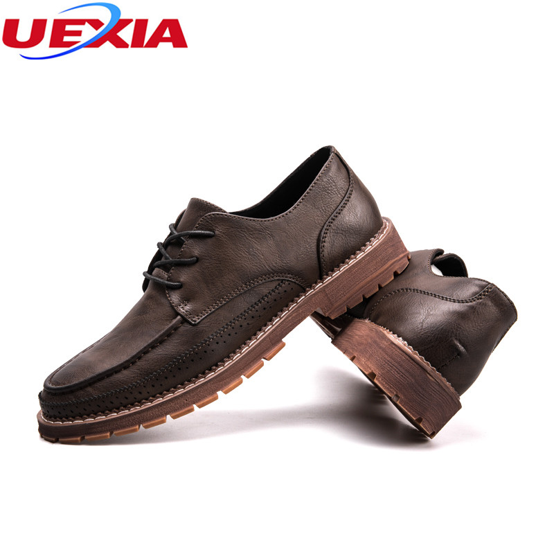 UEXIA New Fashion Leather Men Dress Shoes Oxfords Lace-Up Designer Luxury Formal Wedding Business Pointy Elegant Gentle Footwear