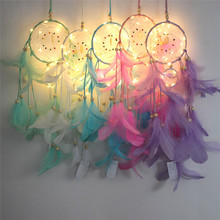 Creative night light dream catcher net wall hanging pendant two ring simple decorative birthday gift