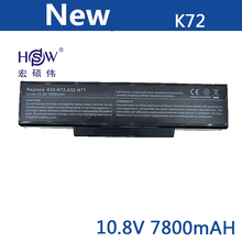 все цены на  New 9cells 7800mah laptop battery For Asus A32-K72 A32-N71 A72 K72D K72 K72J K72R K72Q N73 K73 X77 A72D X77J X77VN  онлайн