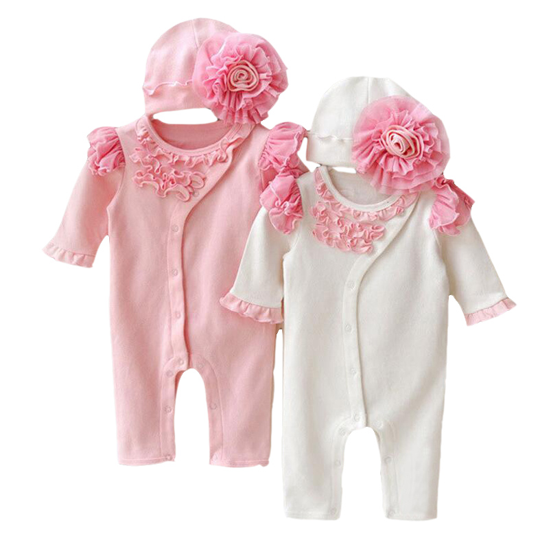Kūdikių mergaičių princesė apranga nėrinių ilgomis rankovėmis romper skrybėlę nustatyti gražus naujagimio medvilnės Jumpsuits kombinezonai viršutiniai drabužiai