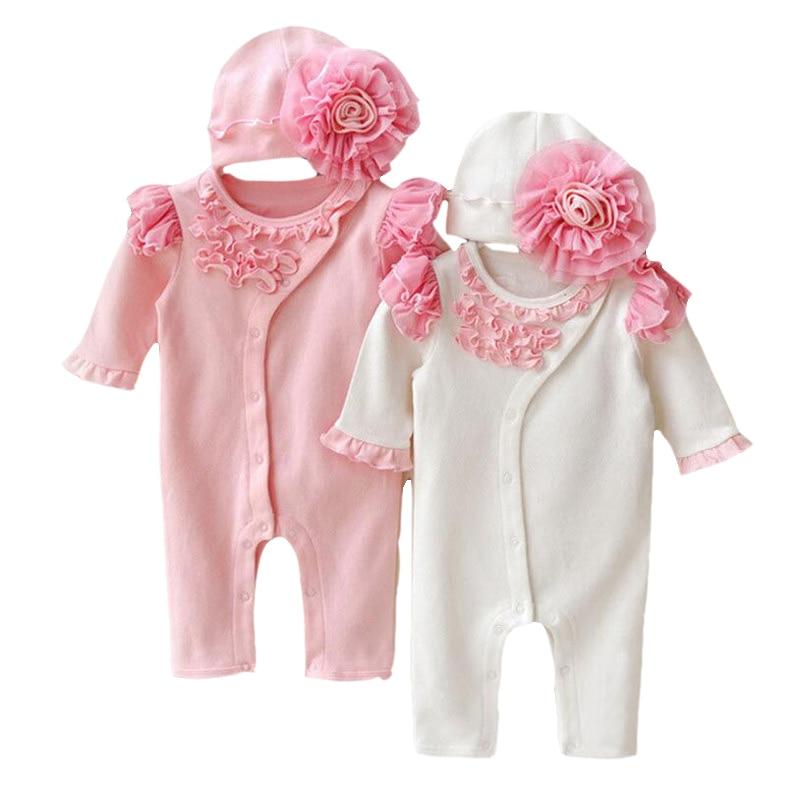 Baby Girl Princess Klänning Lace Långärmad Romper Hat Set Lovely Nyfödda Spädbarn Cotton Jumpsuits Overalls Outerwears