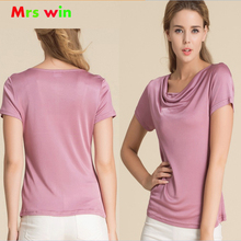 2017 Womens T-Shirts Women Cowl Collar Wild Shirts 100% Pure Silk  Femme Short Sleeve Tops Woman Casual Tee Shirt Female