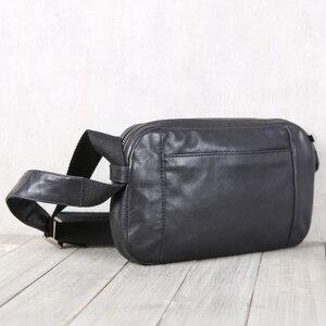 Image 3 - Men Casual Shoulder Bag Handbag Genuine Leather Male Small Bag handmade 100% Cowhide Fashion Mini Satchel Travel Crossbody Bags