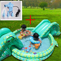 2 Шт. Плавательный Бассейн + Насос многофункциональный Большой Размер Открытый Надувной Бассейн С Горкой Piscine Gonflable Пластиковые слайд