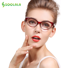 SOOLALA Ladies Brand Designer Cat Eye Reading Glasses Women Customized Strengths Full Frame Eyeglasses +1 +1.5 +2 +2.5 +3 +3.5