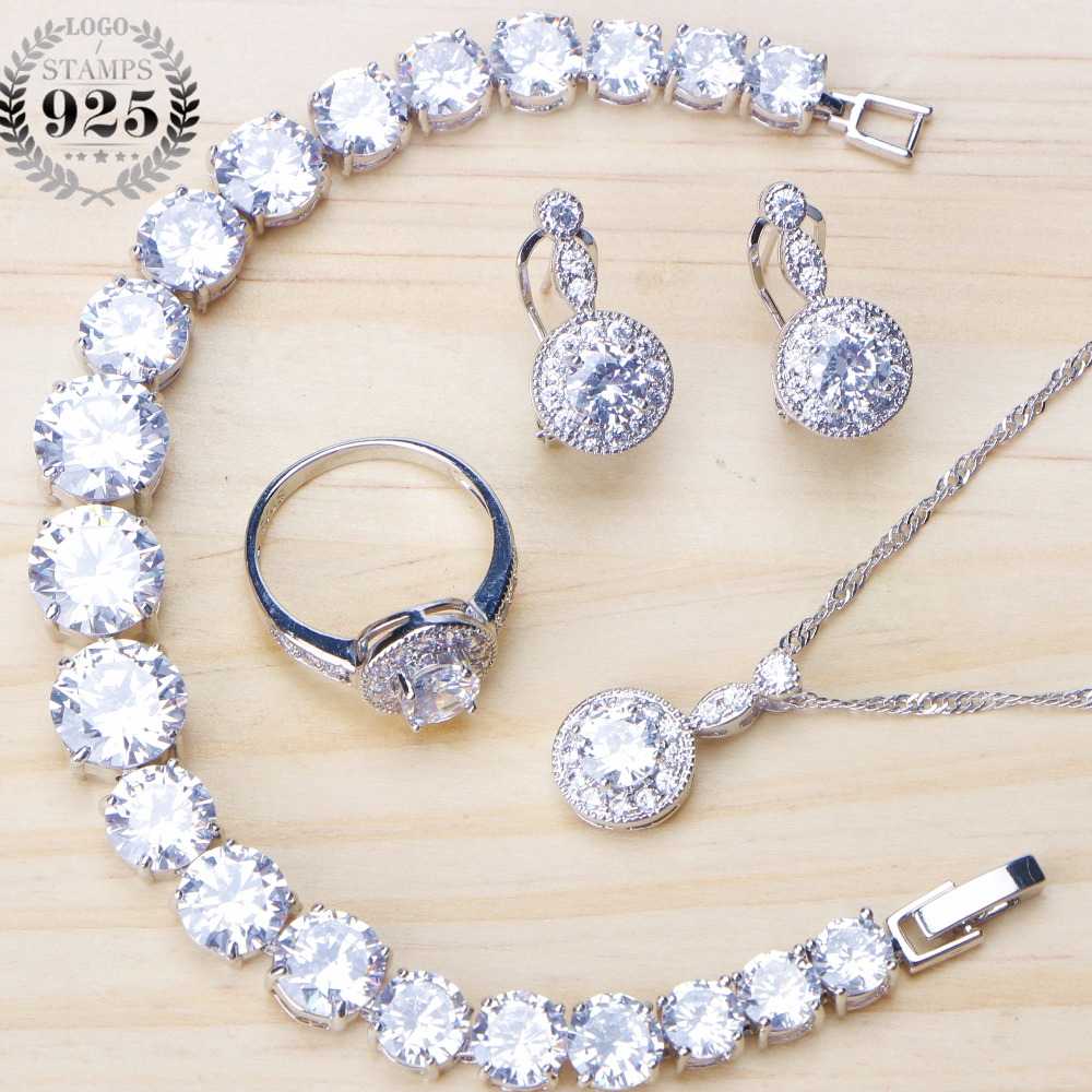 Us 14 31 48 Off White Zircon Silver 925 Costume Jewelry Sets Clips Earrings For Women Pendant Necklace Set Ring Wedding Jewellery Gifts Box In
