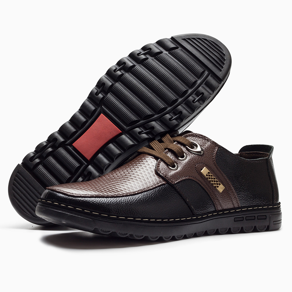 2018 Genuine leather men's casual shoes Moccasins lace-up soft bottom - Men's Shoes - Photo 4