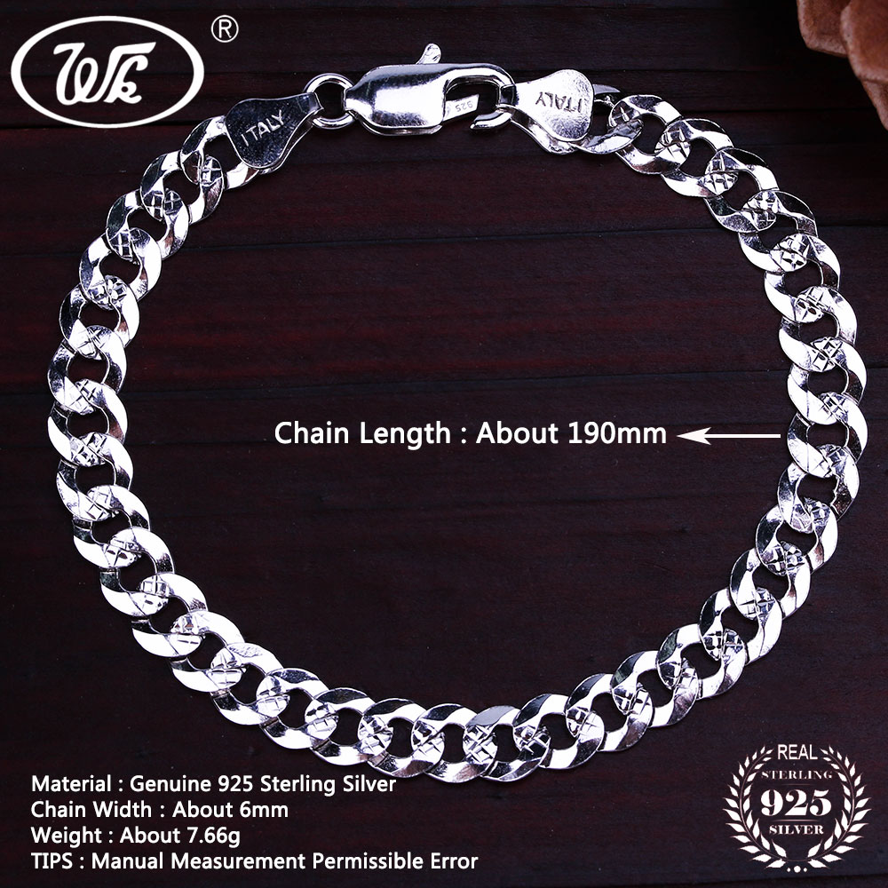WK Flat 6MM 7MM Genuine 925 Sterling Silver Chain Link - Նուրբ զարդեր - Լուսանկար 5