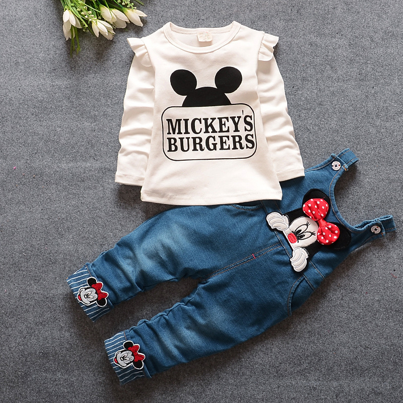 2018 Autumn Infant Jeans Jumpsuit Baby Girls Sets Long Sleeve Tops+Pants New Born Kids Minnie Mickey Clothes Girls Cotton Outfit ...