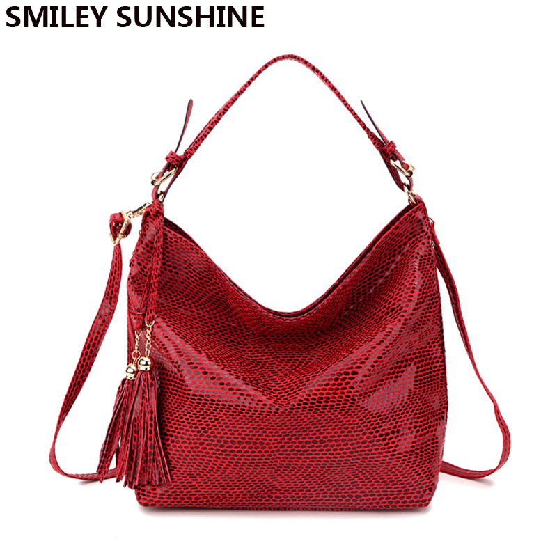 SMILEY SUNSHINE snake leather women big shoulder bag female serpentine pattern hobos bag with tassel women