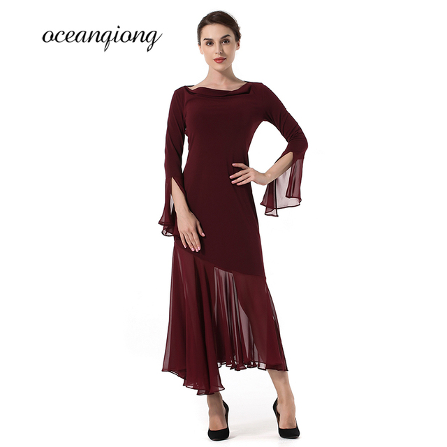 c6ac62354f9b 2018 Spring Dress Women Asymmetrical Chiffon Dress Wine Red Maxi Dress  Women Solid Sexy Log Sleeve Feifei Sleeve Long Dresses