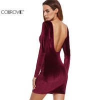 COLROVE Sexy Club Outfits European Style Dress Party Short Long Sleeve Dress Burgundy Open Back Velvet