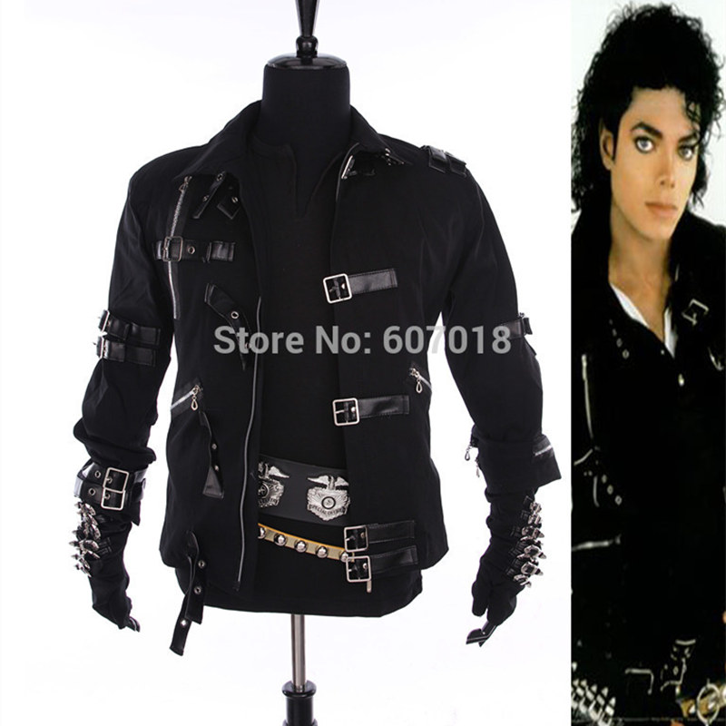 Rare MJ Michael Jackson Black Cotton Elastic Slim BAD Jacket Costume Clothing For Man Adore Stars