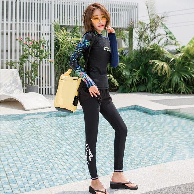 4-piece Womens Long Sleeve Rashguard UPF 50+ Swimwear Top/Bottom Rash Guard Athletic Shirts Leggings Tights Black Printed Girls