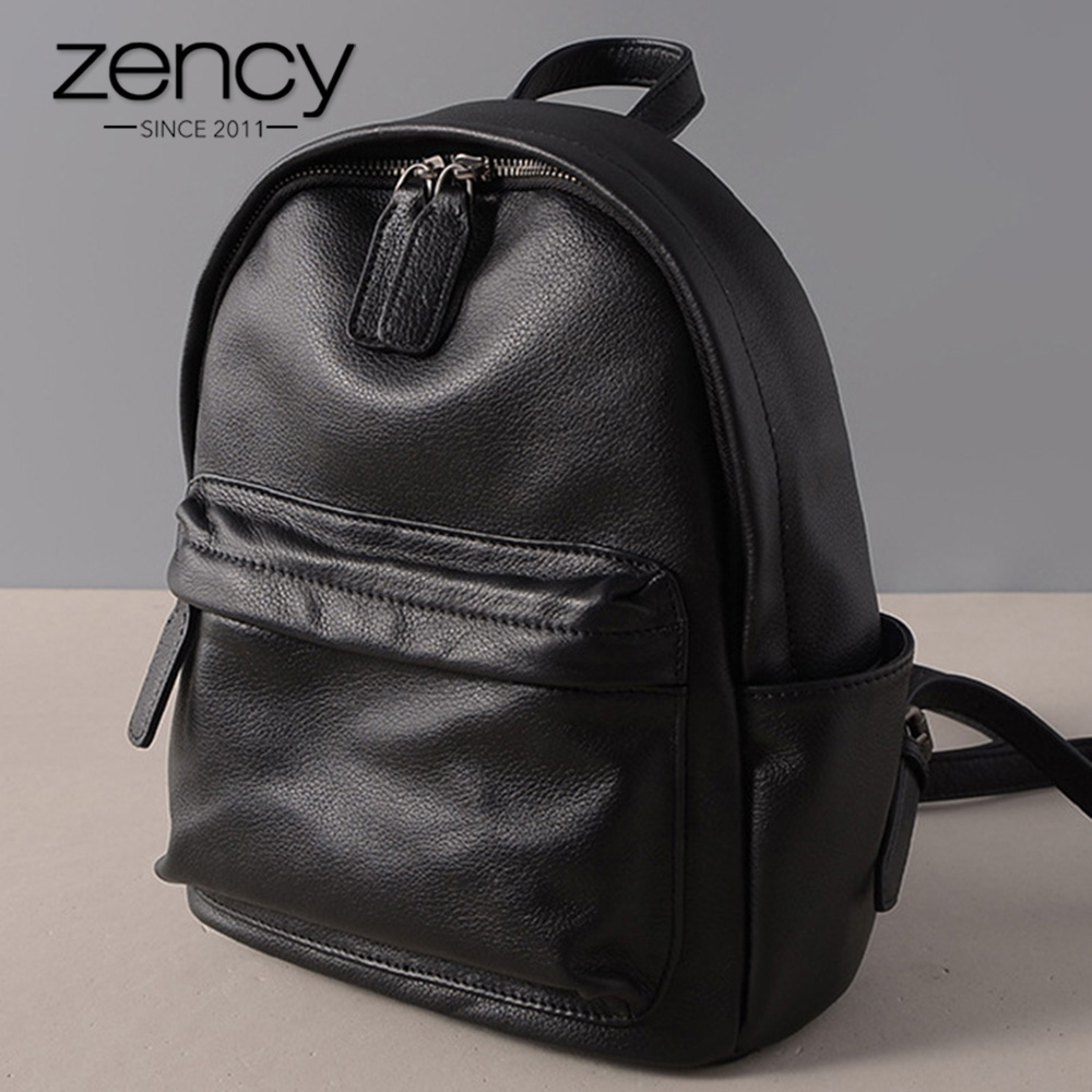 Zency Black Women Backpack 100 Genuine Leather Casual Travel Bags Fashion Lady Knapsack High Quality Girl