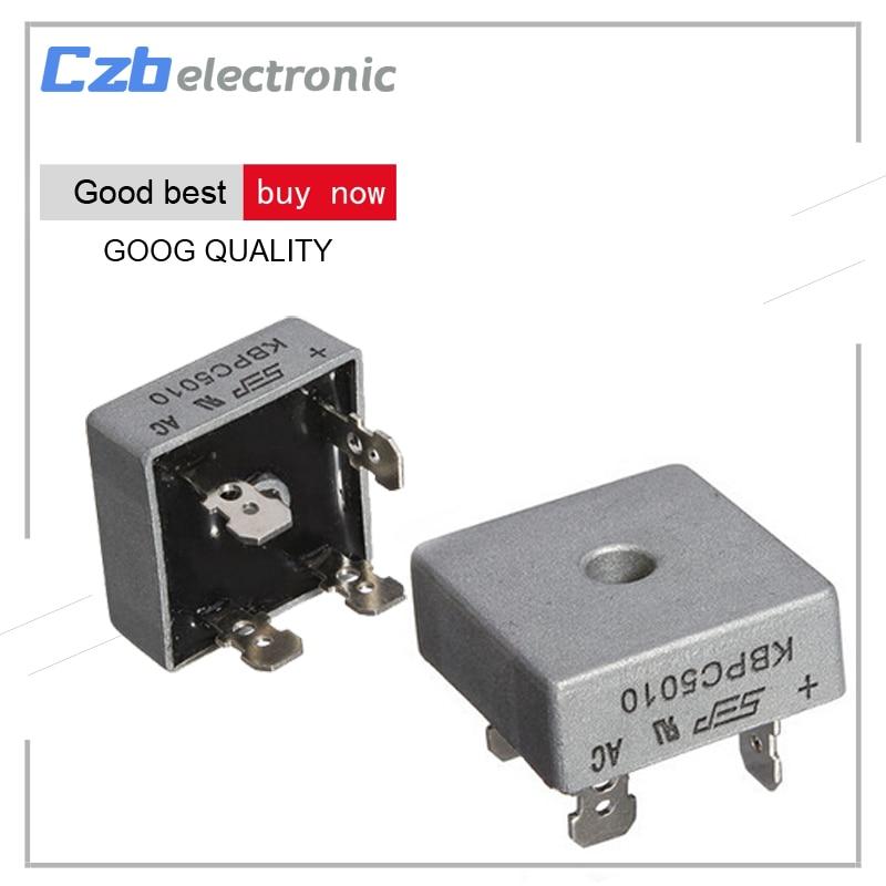 1Pcs 50A 1000V Metal Case Single Phases Diode Bridge Rectifier KBPC5010 AL 30pcs 2w10 bridge rectifier 2a 1000v