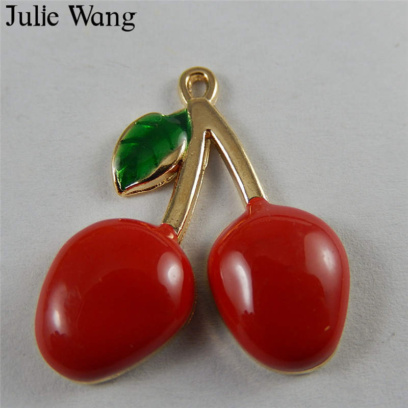 Julie Wang 5PCS Enamel Red Cherry Fruit Gold Tone Charms Pendant Earrings Findings Phone Decor DIY Jewelry Making Accessory