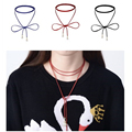 New Design Leather Rope Chain Choker Necklace For Women Chokers Bib Collar Steam punk Necklaces Chocker Colar Necklaces pendant