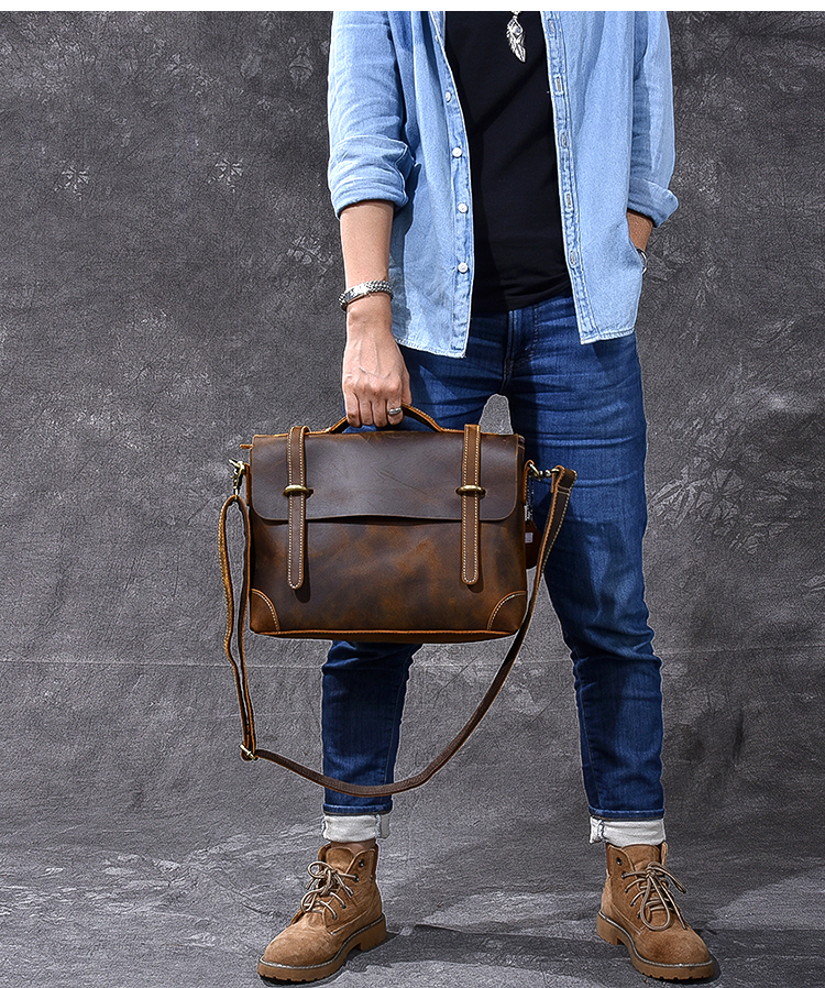 Brown Leather Handbag Vintage model