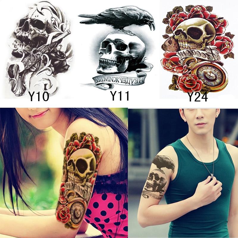 US $1 99 |3Pcs Punk Skull PatternWaterproof Temporary Tatto Men Women  Temporary Tattoo Sticker For Body Arm Shoulder FakeTattoos Slvees-in  Temporary