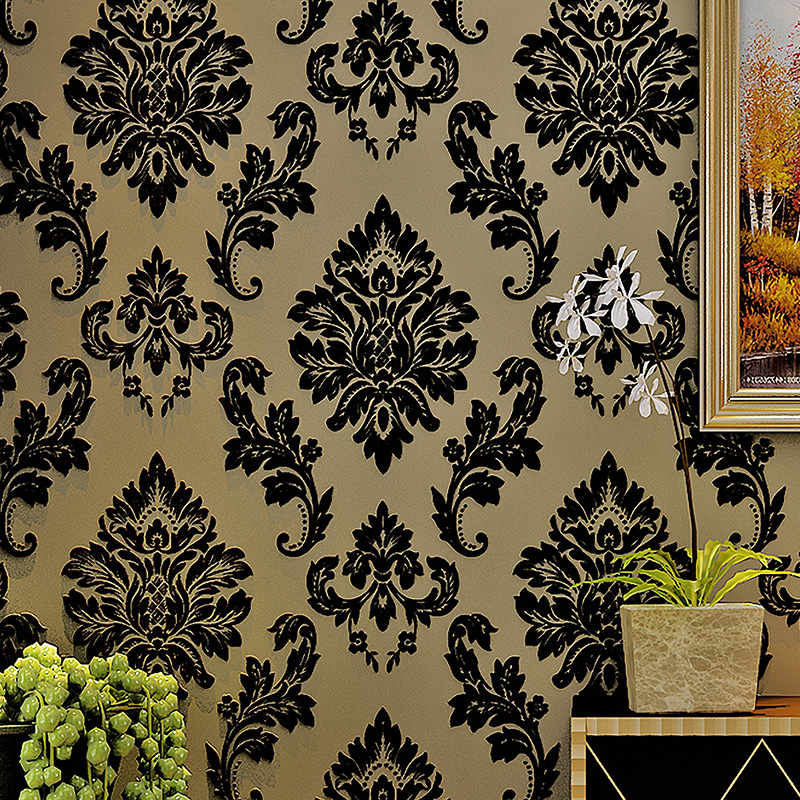 European Style Damascus Breathable Non-woven Flocking Wallpaper Luxury Classic Black Damask Wall Paper For Living Room Bedroom blue european style 3d stereoscopic relief damask tv background wall paper flower luxury bedroom living room non woven wallpaper