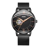 DOM 2019 de Aço Completo Relógio de Quartzo Top Marca de Luxo para Homem de Negócios Preto À Prova D' Água Homens Relógio de Pulso Marca Top de Luxo Relógio