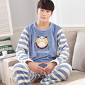 Free shipping Autumn and winter long-sleeve male thickening flannel plus size sleepwear male cartoon coral fleece lounge set 4xl