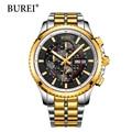 BUREI Man Watch Top Brand Luxury Day And Date Clock Chronograph Stainless Steel Wristwatches Waterproof Sapphire Quartz Watches