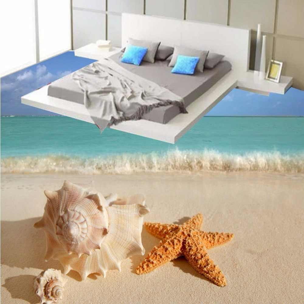 Free Shipping High - definition conch starfish beach spray 3D floor painting bedroom living room hotel floor mural wallpaper