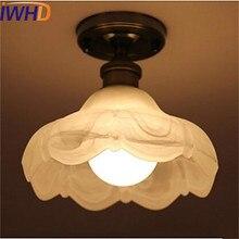 Iwhd стекло винтажный потолочный светильник в стиле ретро светильники Прихожая плафон светильник потолочный промышленного назначения светодиодный спальня гостиная огни