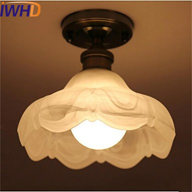 IWHD Glass Vintage Retro Ceiling Light Fixtures Hallway Plafondlamp Industrial Ceiling Lamp LED Bedroom Living Room Lights iwhd round retro vintage led ceiling lamp kitchen balcony porch corridor loft industrial ceiling lights plafondlamp de techo